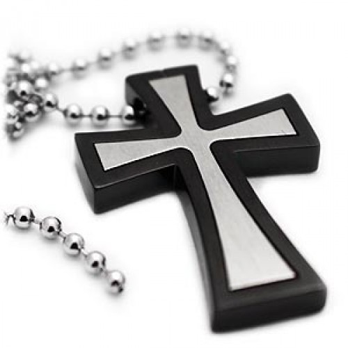 Flared black titanium cross necklace double flared black titanium cross necklace aloadofball Gallery
