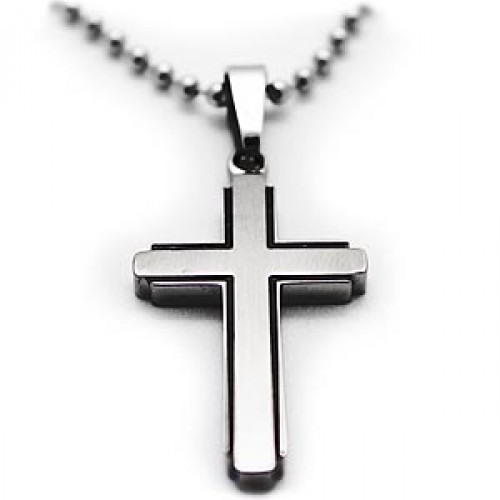 Gardian contemporary titanium cross necklace aloadofball